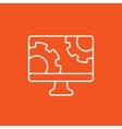 Computer monitor with gears line icon vector image vector image