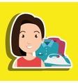 cartoon woman clothes ironing vector image