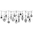 hanging christmas ornaments of ball on border vector image