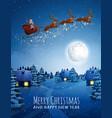 santa claus on deer flying sleigh with reindeers vector image