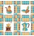 Seamless pattern coffee things and plaid vector image