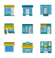 Storefronts blue icons set vector image
