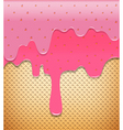 Strawberry cream pouring on wafer abstract vector image