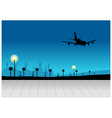 City skyline airplane flying vector image vector image