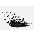 brushstroke texture grunge with birds flying vector image