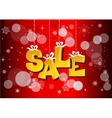 Christmas sale label with ribbons vector image