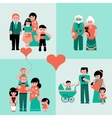 Family figures icons set of parents kids vector image