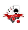 Casino icon with playing cards and chips vector image