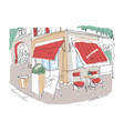 colored freehand sketch of small sidewalk cafe or vector image