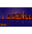 Dubai night city skyline silhouette vector image vector image