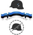 estonian wsw helmet and flag vector image vector image