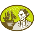 Captain explorer with tall ship galleon vector image vector image