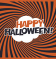 happy halloween typography on orange rays vector image