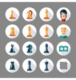 Set of flat design chess icons with players vector image