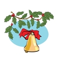 Christmas bell on berry branch vector image