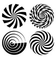 radial spiral rays set psychedelic vector image