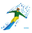 sportsman ski slope down from the mountain vector image