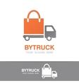 truck and shopping bag logo concept vector image