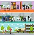 set of school concept banners Building vector image