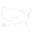 Black White USA Outline Map vector image