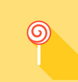 lollipop icon with long shadow flat design vector image