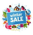 Winter sale background Merry Christmas Happy New vector image