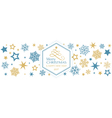Blue golden snowflake Merry Christmas vector image