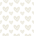 Seamless pattern hand-stitched hearts vector image