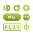 ui interface green button play media internet vector image