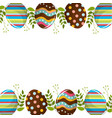 eggs easter with branches plant decorative vector image