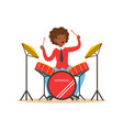 young black woman playing on drums guy behind the vector image