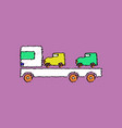 flat shading style icon car carrier truck deliver vector image vector image