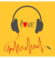 Headphones with red cord in shape of cardiogram vector image