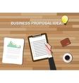 business proposal idea in work desk wood vector image