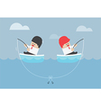 Businessman and his rival having trouble with fish vector image