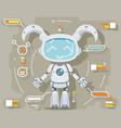 cute girl female robot android artificial vector image