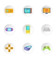 Game console icons set cartoon style vector image