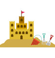 color silhouette with sand castle and set tools vector image