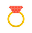 gold ring with ruby isolated jewelry on white vector image