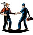 Farmer and tradesman mechanic handshake vector image vector image