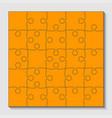 25 orange puzzle pieces - jigsaw - vector image
