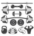 Set of vintage fitness designed elements vector image
