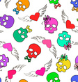 Seamless pattern of funny skulls and winged hearts vector image