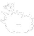Black White Iceland Outline Map vector image