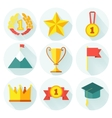 Flat design of set awards icons with lonh vector image