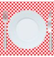 Plate fork and spoon vector image