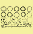 set with hand-drawn wreaths ribbons flowers and vector image
