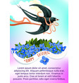 easter greeting card with swallow bird and flower vector image