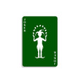 playing card with joker in green design vector image