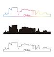 Chiba skyline linear style with rainbow vector image